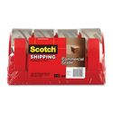 3M Scotch Commerial Grade Packaging Tape w/Disp, 3750-4RD, 1.88 in x 54.6 yd (48 mm x 50 m), 4 per pack, Clear