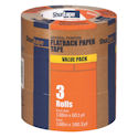 Kraft Paper Masking Tape, Rubber Tape Adhesive, 6.00 mil Thick, 48mm X 55m, Tan, Pack of 3